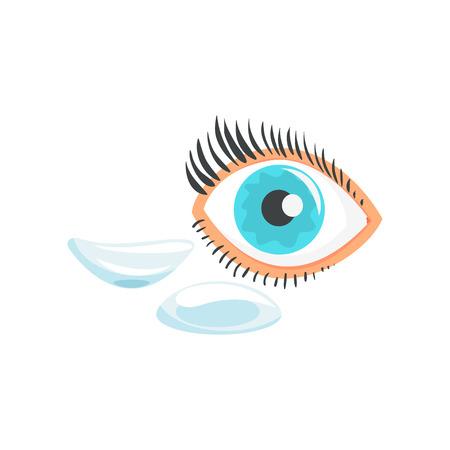 Menschliches Auge und Karikaturvektor Illustration mit zwei Kontaktlinsen auf einem weißen Hintergrund