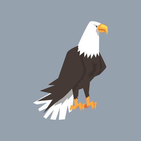 Noordamerikaans Kaal Eagle-karakter, symbool van vrijheid en onafhankelijkheids vectorillustratie, beeldverhaalstijl