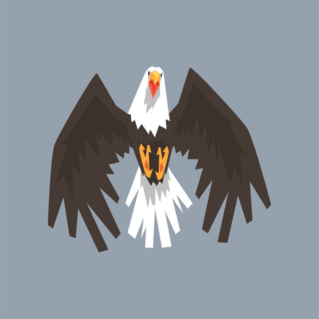 North American Bald Eagle character flying, symbol of freedom and independence vector illustration, cartoon style Illustration