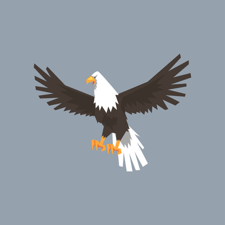 North American Bald Eagle character, feathered symbol of freedom and independence vector illustration, cartoon style