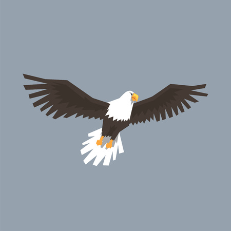 North American Bald Eagle flying, symbol of freedom and independence vector illustration, cartoon style. Illustration