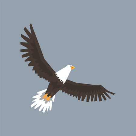 North American Bald Eagle character flying in the sky, symbol of freedom and independence vector illustration, cartoon style