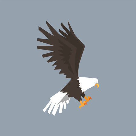 North American Bald Eagle, symbol of freedom and independence vector illustration, cartoon style Stock Vector - 93149926