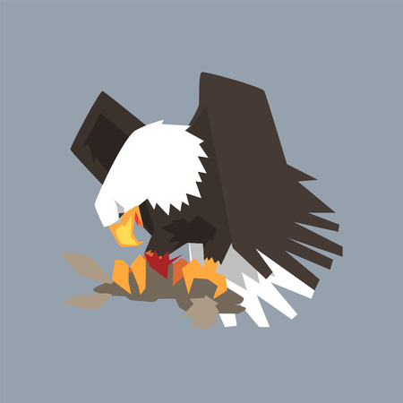 North American Bald Eagle character eating his prey, symbol of freedom and independence vector illustration, cartoon style