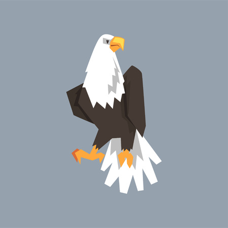 North American Bald Eagle character, symbol of freedom and independence vector illustration, cartoon style Ilustrace