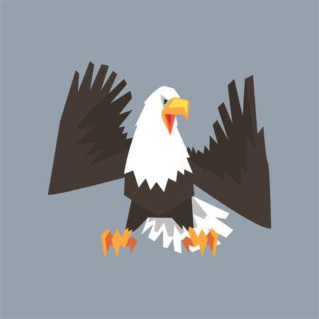 North American Bald Eagle character, symbol of USA vector illustration, cartoon style Illustration