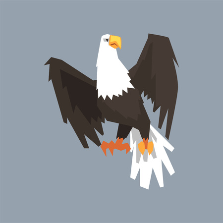 North American Bald Eagle, symbol of USA vector illustration, cartoon style