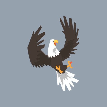 North American Bald Eagle flying and attacking, symbol of USA vector illustration, cartoon style.