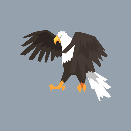 North American Bald Eagle, symbol of freedom and independence vector illustration, cartoon style