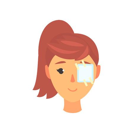 Młoda kobieta z plastrem na jej oku, okulistyka koncepcja kreskówka wektor ilustracja na białym tle