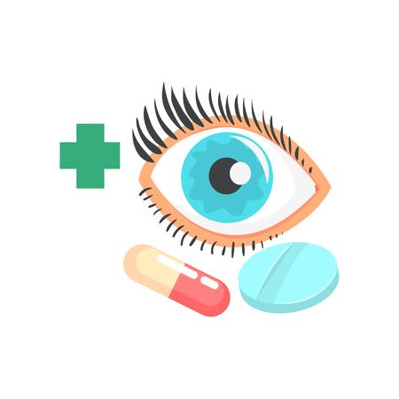 인간의 눈과 약, 안과 개념 만화 벡터 일러스트 레이 션 일러스트