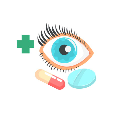 Human eye and pills, ophthalmology concept cartoon vector Illustration Illustration