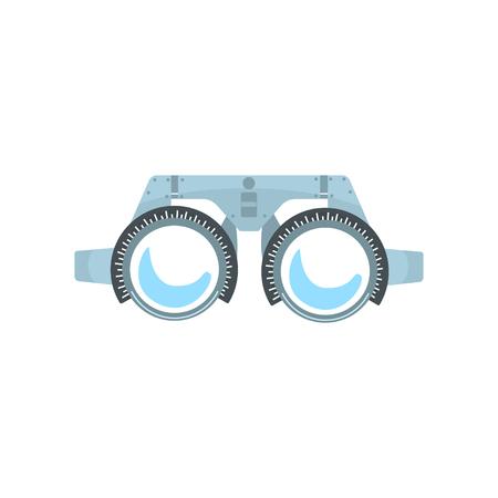 Proefraam voor het controleren van de visie van de patiënt, oogarts apparatuur cartoon vector illustratie