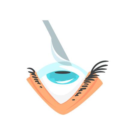 Scalpel over human eye, eye surgery and vision correction cartoon vector Illustration
