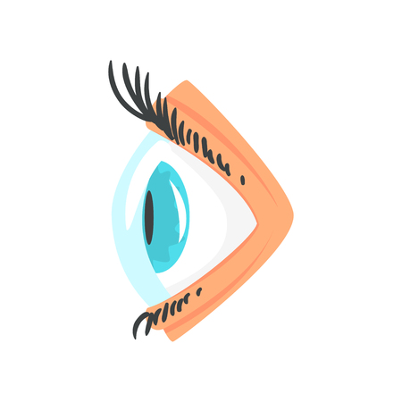 Human eye with contact lense side view cartoon vector Illustration Illustration
