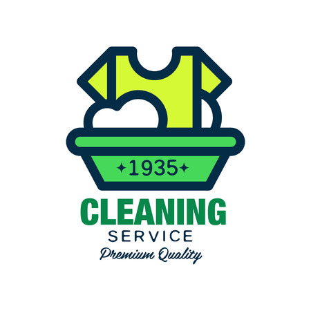 Vector logo for cleaning company. T-shirt and plastic basin with foam. Laundry service. Simple icon in linear style with green fill. Design for flyer, poster or banner