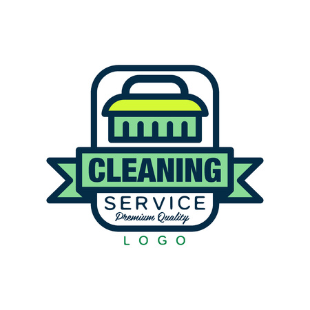 Creative logo, emblem, badge or label with cleaning brush and decorative ribbon. Maid or car wash service. Simple vector icon in linear style with green fill