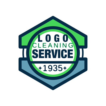 Geometric logo for home and office cleaning agency. Premium quality services. Icon in line style with green and blue fill. Isolated flat vector illustration. Design for business card, poster or flyer. Illustration