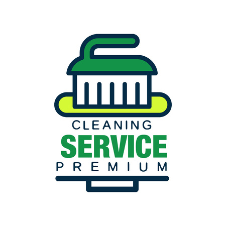 Original linear logo design for cleaning agency with brush. Professional cleaner help for housekeeping. Premium quality services. Isolated flat vector element for company insignia, banner or poster.