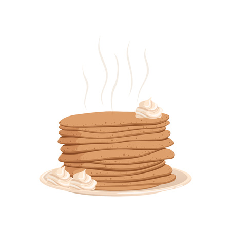 Stack of hot pancakes with whipped cream on plate. Dessert food concept. Cartoon flat vector design for cafe menu, book, flyer or poster