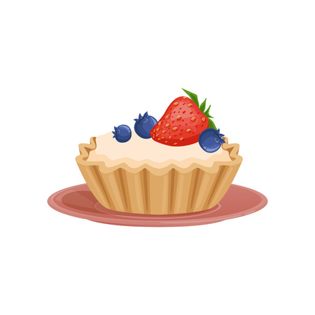 Tartelette with vanilla cream, decorated with fresh strawberry and blueberry. Sweet and tasty dessert. Flat vector design for pastry shop, recipe book or menu