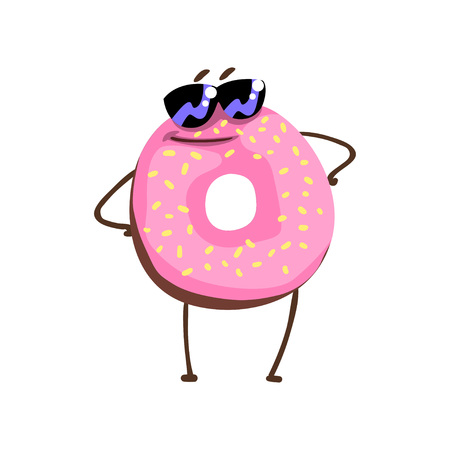 Awesome donut character in sunglasses standing with arms akimbo. Cartoon doughnut with pink vanilla glaze and sprinkles. Flat vector for sticker, greeting card, print
