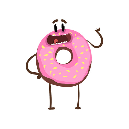 Delicious donut standing and waving hand. Cartoon character of vanilla glazed doughnut with happy face expression. Flat vector design for cafe poster, sticker or print