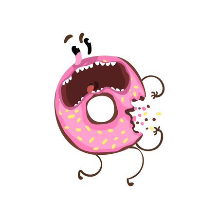 Bitten donut with pink glaze and sprinkles. Cartoon character of doughnut with frightened facial expression. Flat vector design for sticker, t-shirt print or cafe Illustration