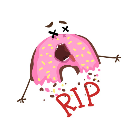 Cartoon half-eaten donut with pink glaze and sprinkles. Dead doughnut with cross eyes and stuck-out tongue. RIP. Funny flat vector design for t-shirt print or sticker
