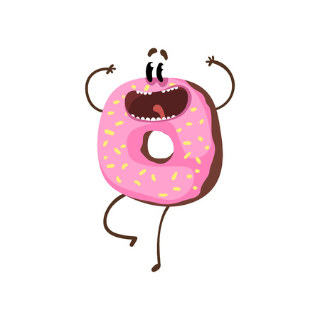 Happy doughnut character jumping with hands up. Cartoon donut with pink vanilla glaze and sprinkles. Sweet bakery concept. Street food. Flat design for print or sticker. Isolated vector illustration.