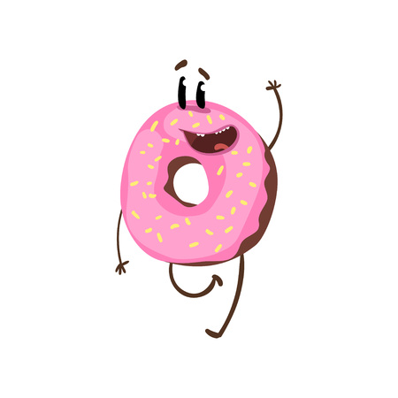 Friendly doughnut character walking and waving hand. Cartoon ring donut with pink glazing and sprinkles. Street food. Flat vector design for print, sticker or cafe