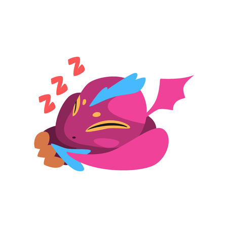 Cute sleeping baby dragon isolated on white background. Cartoon fantastic animal character in purple color. Colorful flat vector illustration for mobile game design, sticker, card or kids print.