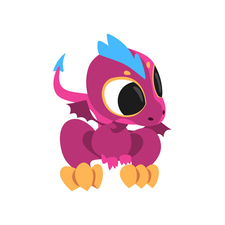 Cartoon baby dragon with big eyes, little wings and long tail. Fantastic creature character of childrens fairy tale. Isolated flat vector design. Colorful element for mobile game, sticker or book.