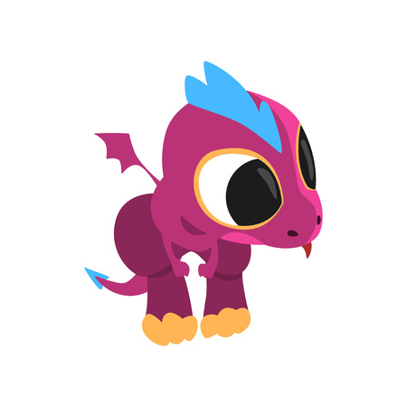 Little purple dragon with curious muzzle and tongue hanging out. Cartoon character of mythical creature. Flat vector illustration isolated on white background. Design for sticker, mobile game or print. Illustration