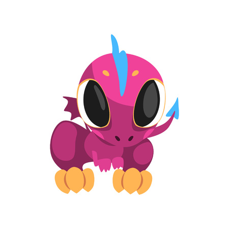 Adorable violet dragon with big eyes, little wings, long tail and blue mohawk. Fantastic mythical creature. Cartoon character. Flat vector design for mobile game, network sticker or kid t-shirt print.