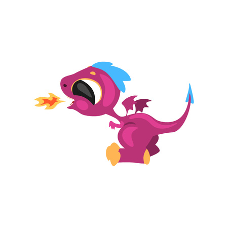 Cute little dragon having fun and breathing with fire. Cartoon character of fantastic animal. Flat vector illustration isolated on white. Design for sticker, card, kids print, mobile or computer game.
