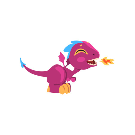 Funny fire-breathing dragon with long tail, short paws and blue mohawk on head. Side view. Flat design for mobile game, kids poster or network sticker. Vector illustration isolated on white background