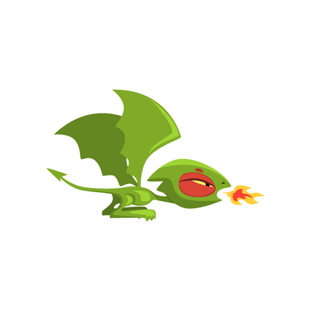 Angry little dragon breathing fire. Green fairy tale creature with large wings and long tail. Cartoon vector illustration isolated on white. Flat design for mobile app icon, computer game or sticker. Illustration
