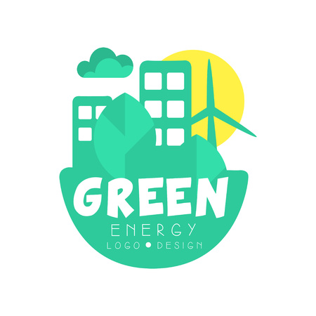 Green energy icon original design template. Eco-friendly clean city concept with buildings, trees and windmill. Flat vector isolated on white. Ilustrace