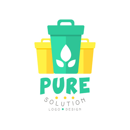Original pure solution logo design template with garbage bins for sorting waste. Environmentally friendly business or company. Flat vector isolated on white