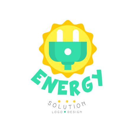 Création de logo original de solution d'énergie verte avec prise électrique pour entreprise ou entreprise respectueuse de l'environnement. Pouvoir alternatif pur. Vecteur plat isolé sur blanc Banque d'images - 93218025