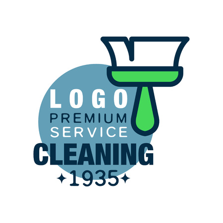 House cleaning and maid service logo design with brush and blue circle. Original icon in outline style. Flat vector design for business card, flyer or banner