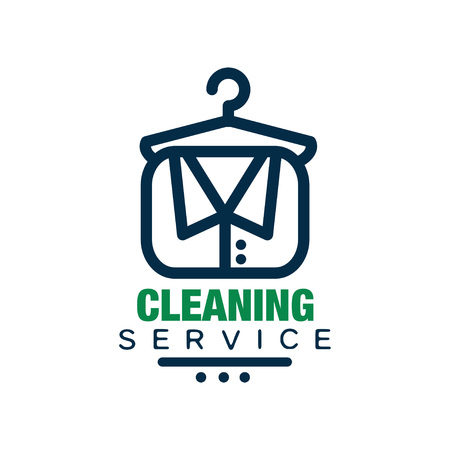 Creative linear logo, emblem, badge or label for cleaning agency. Icon for laundry service. Flat vector design for promo flyer, poster, banner or mobile app