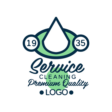 Linear logo design for house cleaning service or car wash company. Icon with white water drop in green ellipse. Flat vector element for banner, poster or flyer