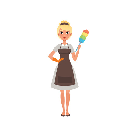 Pretty woman maid holding colorful dust brush. Hotel cleaning service concept. Cartoon blond girl character wearing gray dress, brown apron and orange glove. Isolated vector illustration in flat style