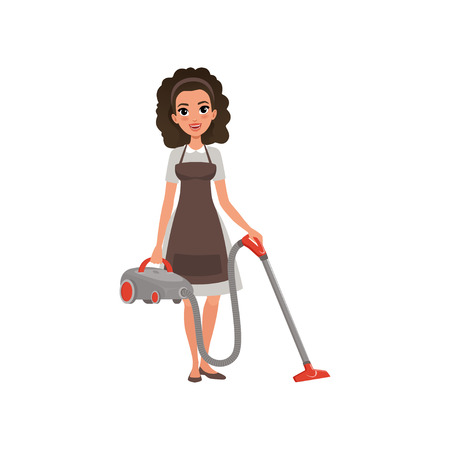 Cartoon character of hotel maid with vacuum cleaner. Young curly-haired girl in gray dress and brown apron. House cleaning service. Professional at work. Flat vector illustration isolated on white.