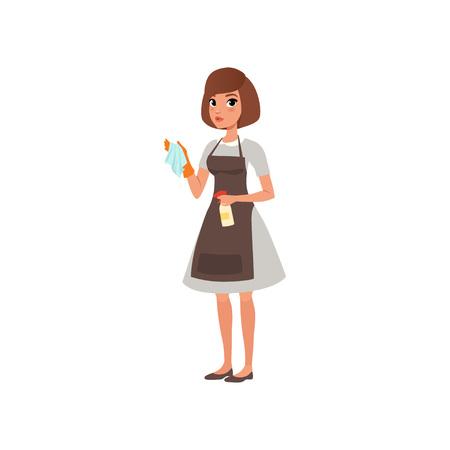 Personnage de femme de bande dessinée tenant le chiffon et le vaporisateur avec un liquide de nettoyage. Service de ménage à l'hôtel. Travailleur domestique. Fille en robe grise, tablier marron et gant orange. Conception de vecteur plat isolé sur blanc.