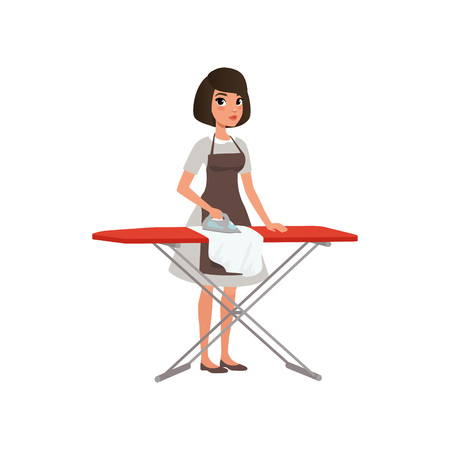 Brunette woman ironing clothes on an ironing board. Domestic worker. Maid service concept. Cartoon young girl in gray dress and brown apron. Flat vector design