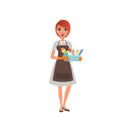 Young girl holding plastic box with cleaning liquids and brushes. Cartoon woman in dress, apron and rubber gloves. Hotel maid service. Flat vector design
