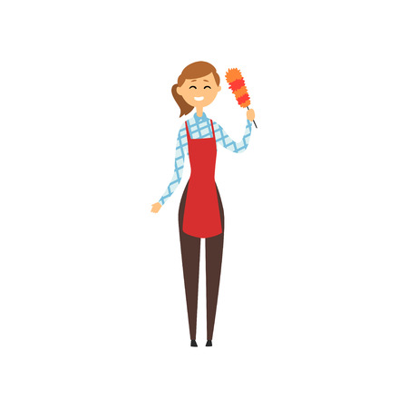 Hotel maid standing and holding dust brush. Domestic worker in red apron, checkered blouse, brown pants and rubber gloves. Illustration